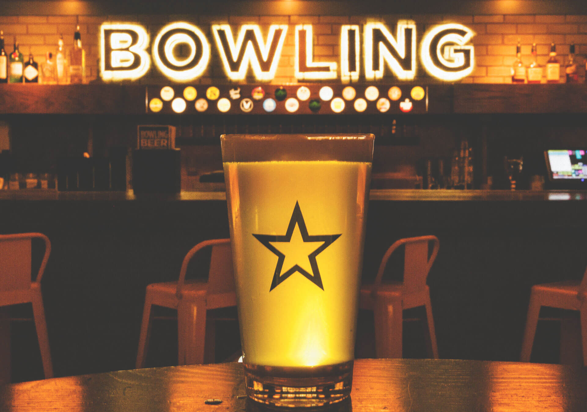 National beer at bowling alley