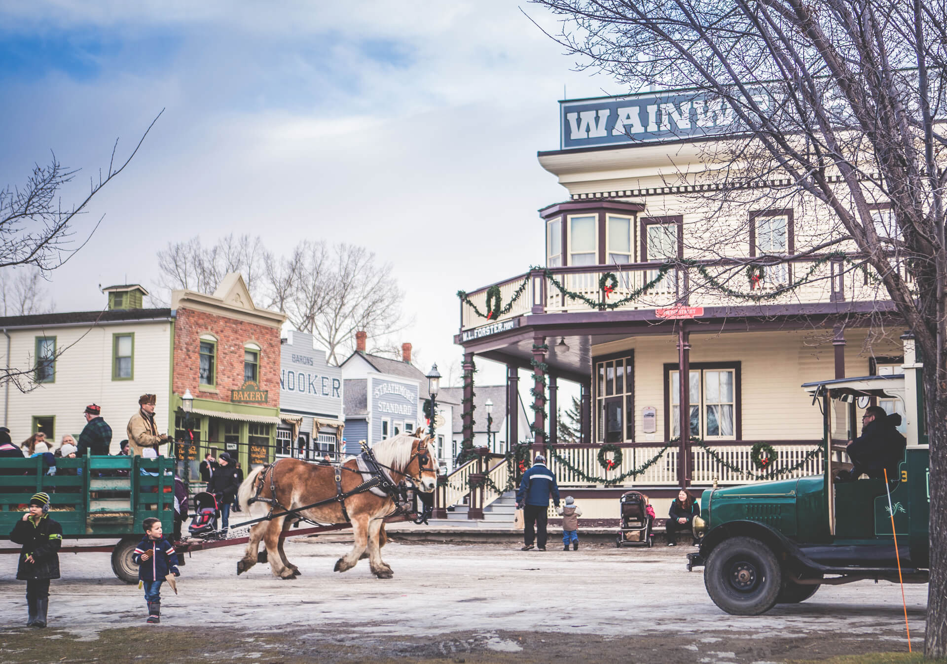 Winter Horse drawn carriage ride through Heritage Park