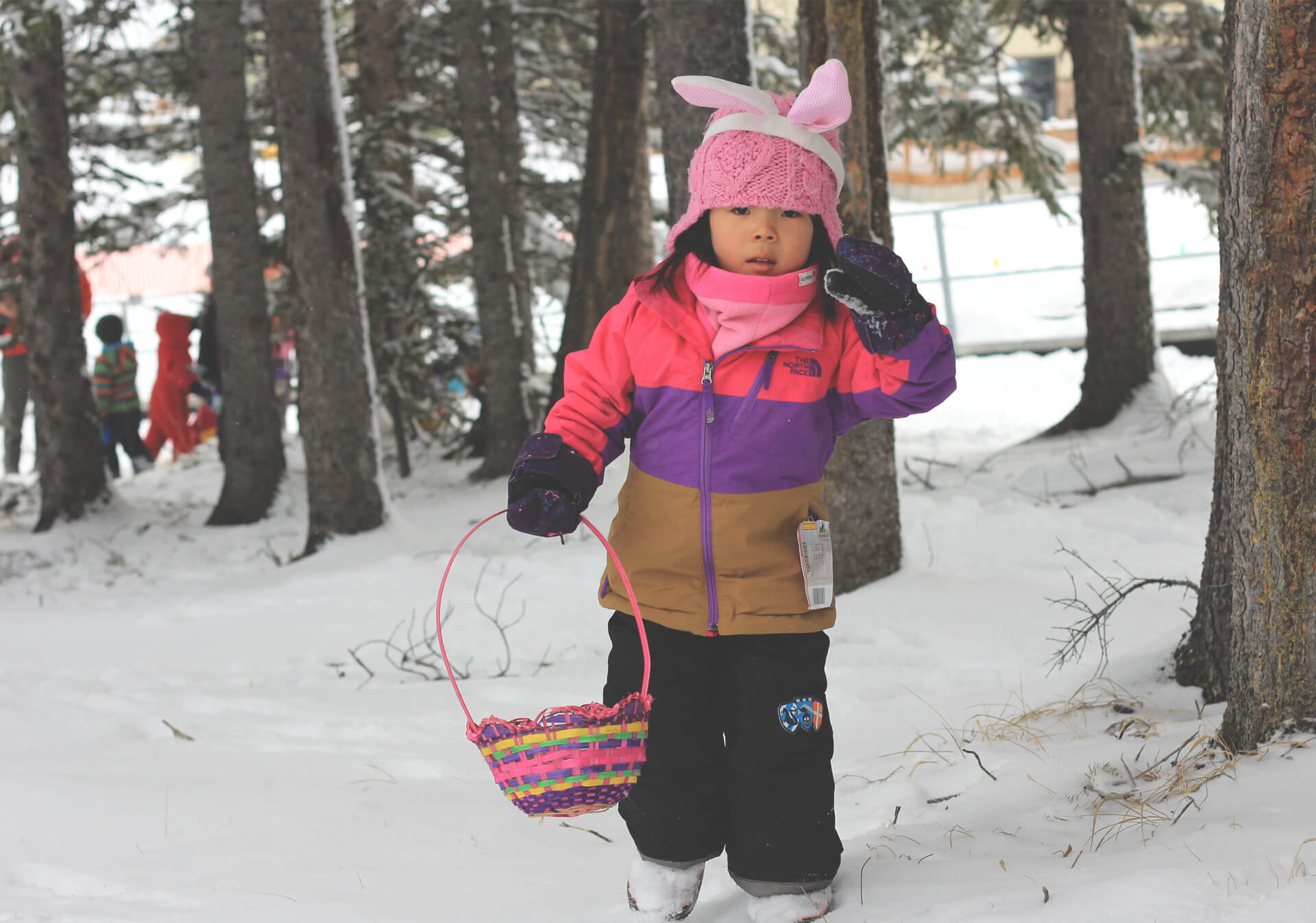 Toddler easter egg hunting at Norquay