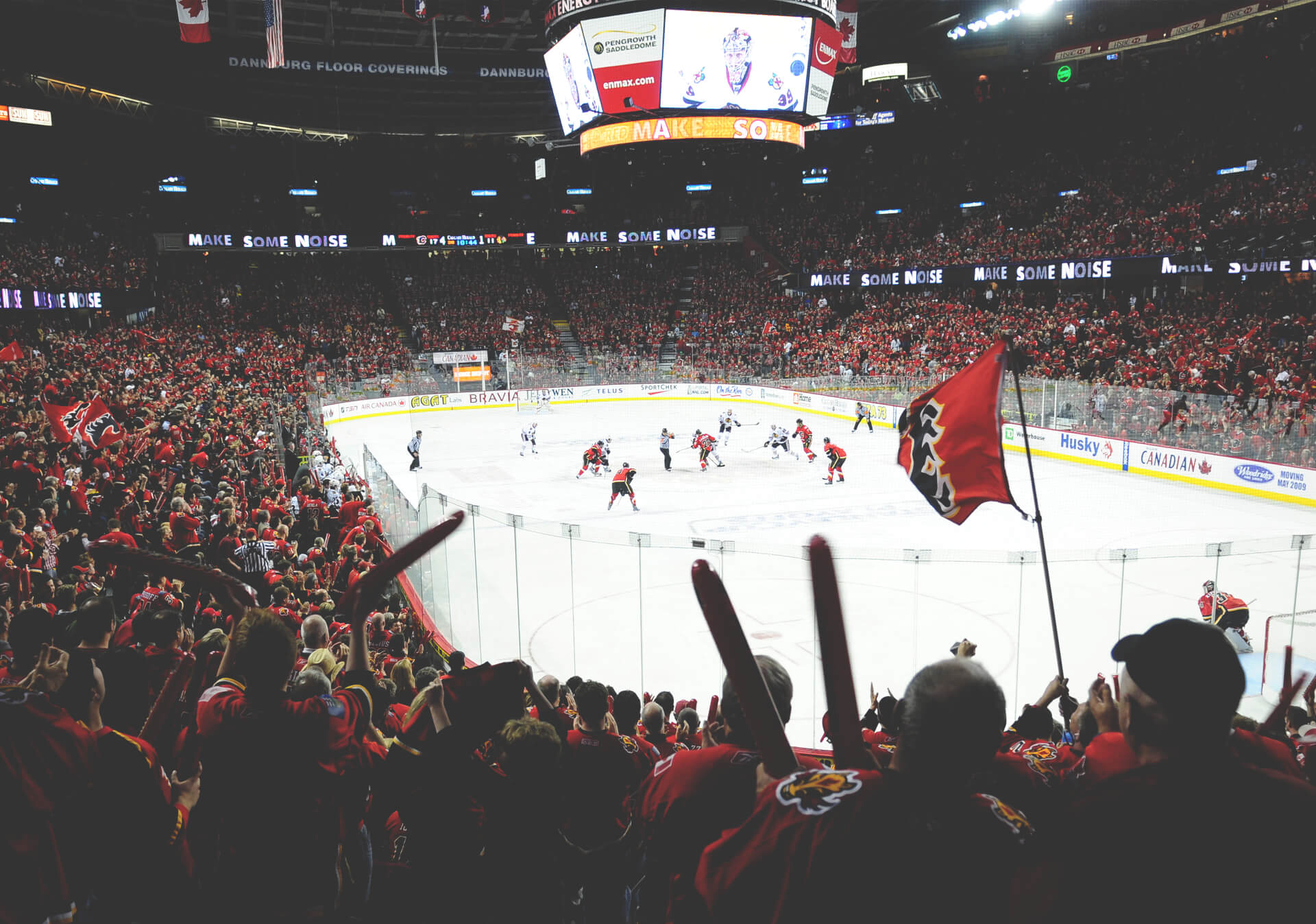 Feel the energy of the C of Red with the Calgary Flames at the Scotiabank Saddledome