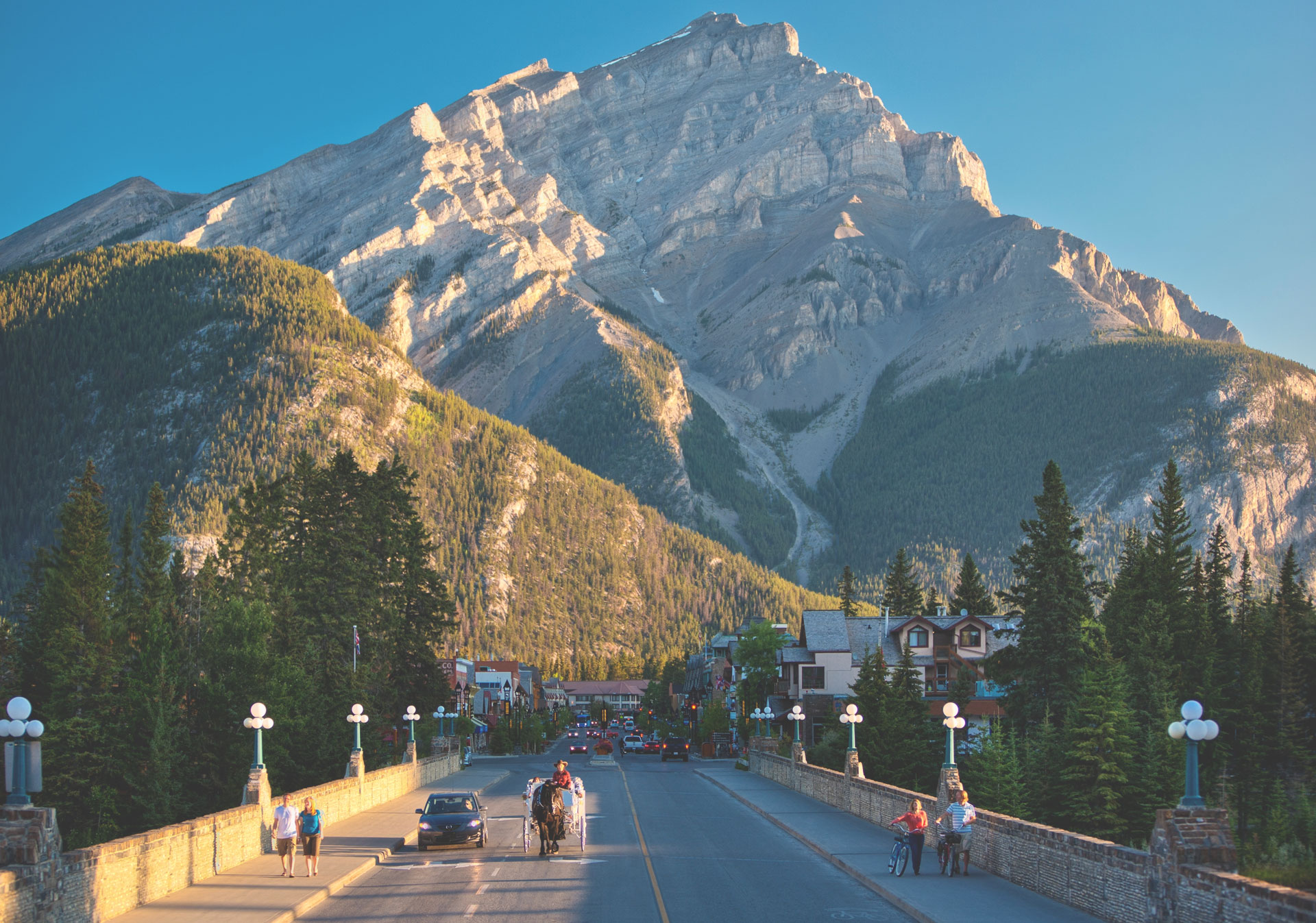 Town of Banff in the summer