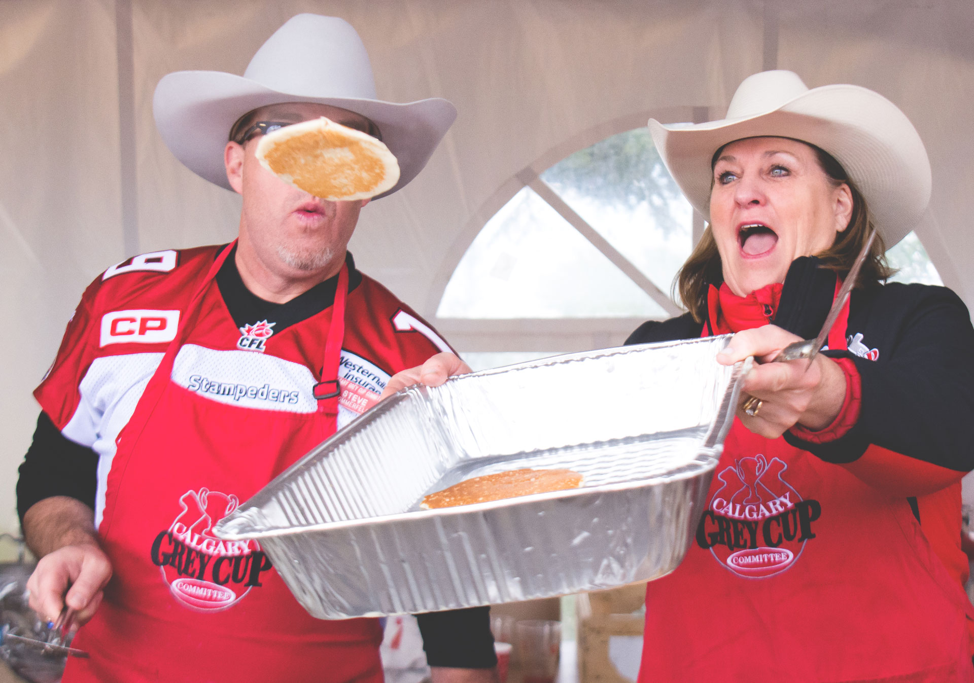 A traditional Calgary pancake breakfast at the Grey Cup.