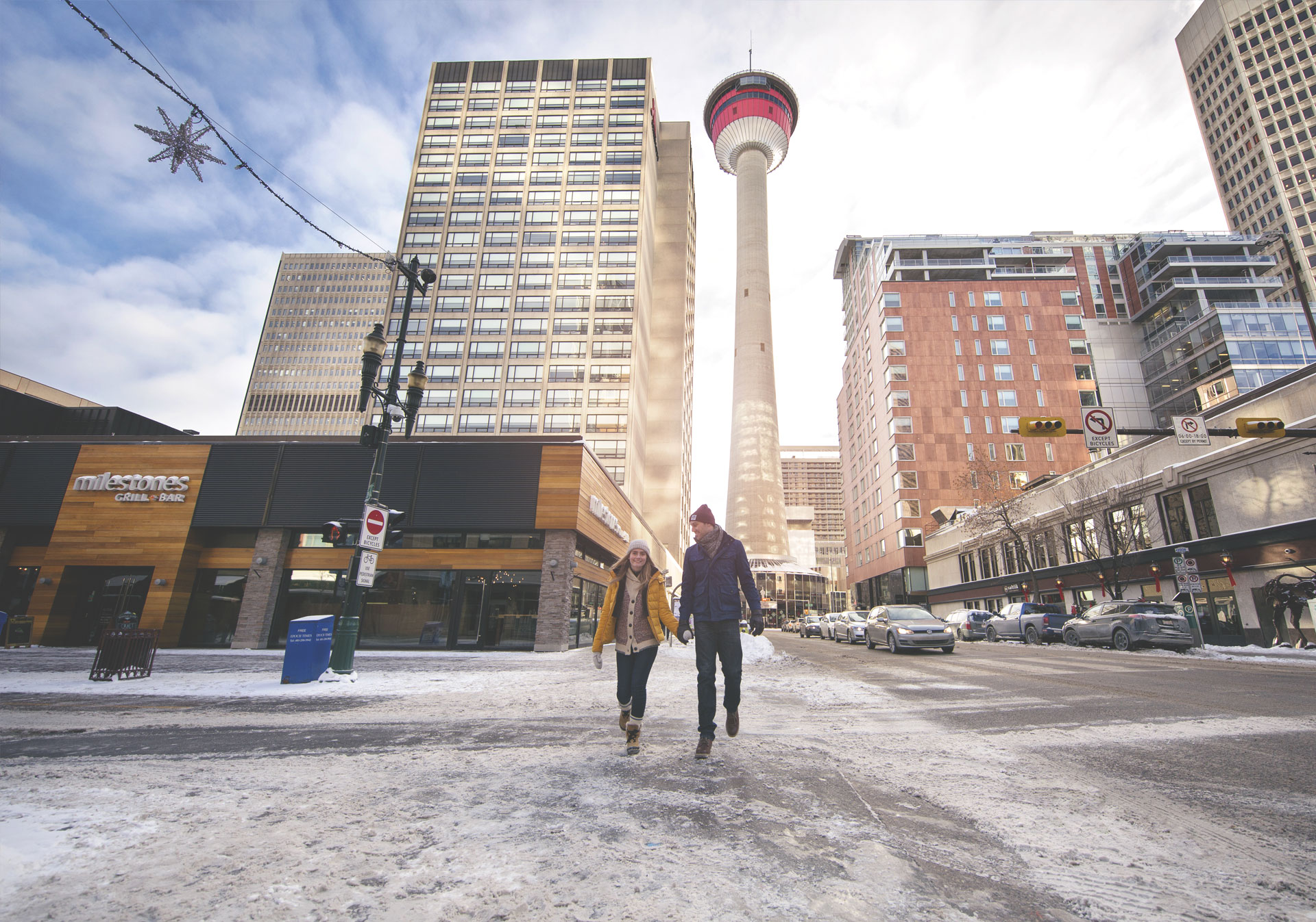 Calgary Tower from Stephen Avenue Walk (Photo credit: Travel Alberta/Roth & Ramberg)
