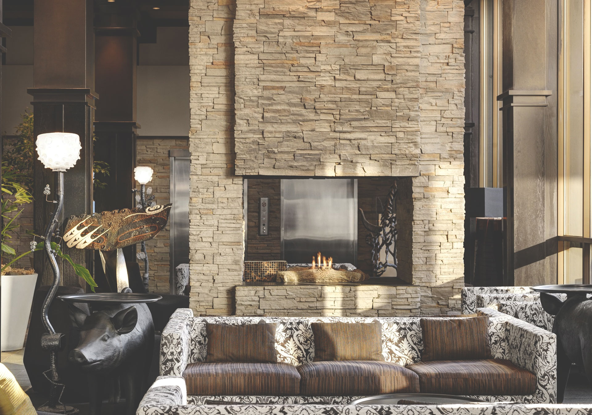 Warm up by the fire at Hotel Arts in Calgary.