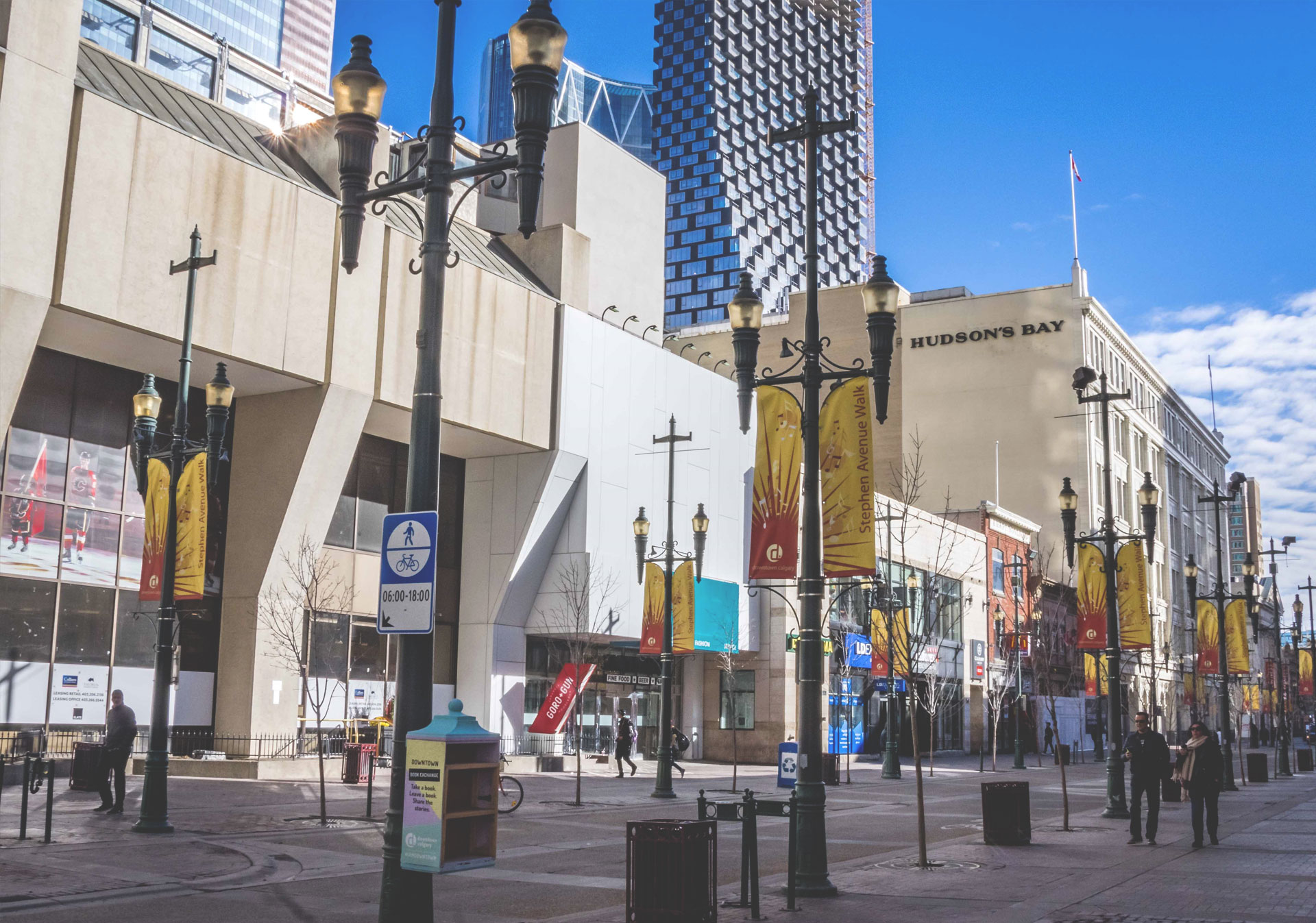 Roam through Stephen Avenue, a pedestrian-only street in the heart of Downtown