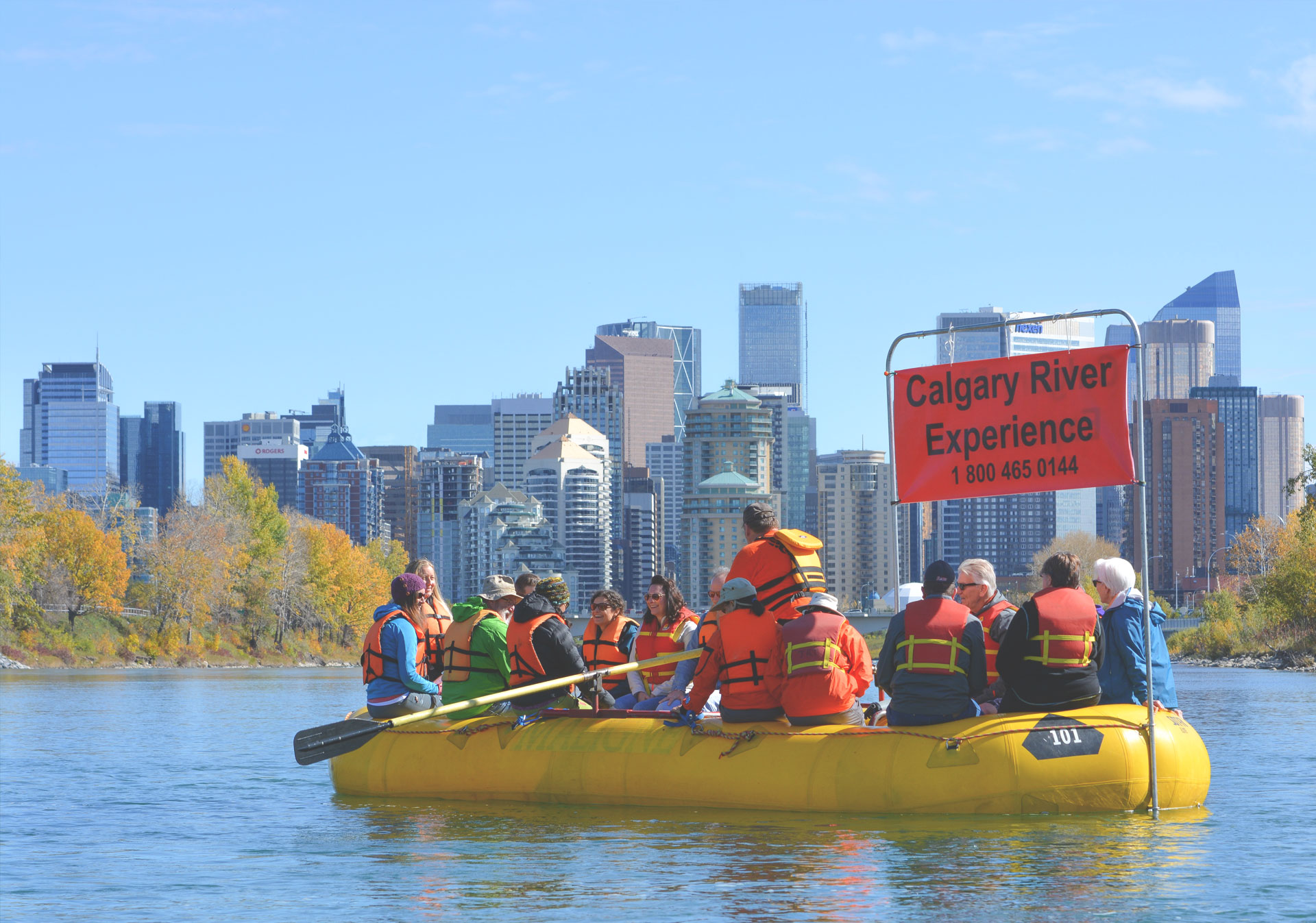 Mukwah Rafting Tours on the Bow River (Photo credit: Travel Alberta/Caitlyn Giorgio).