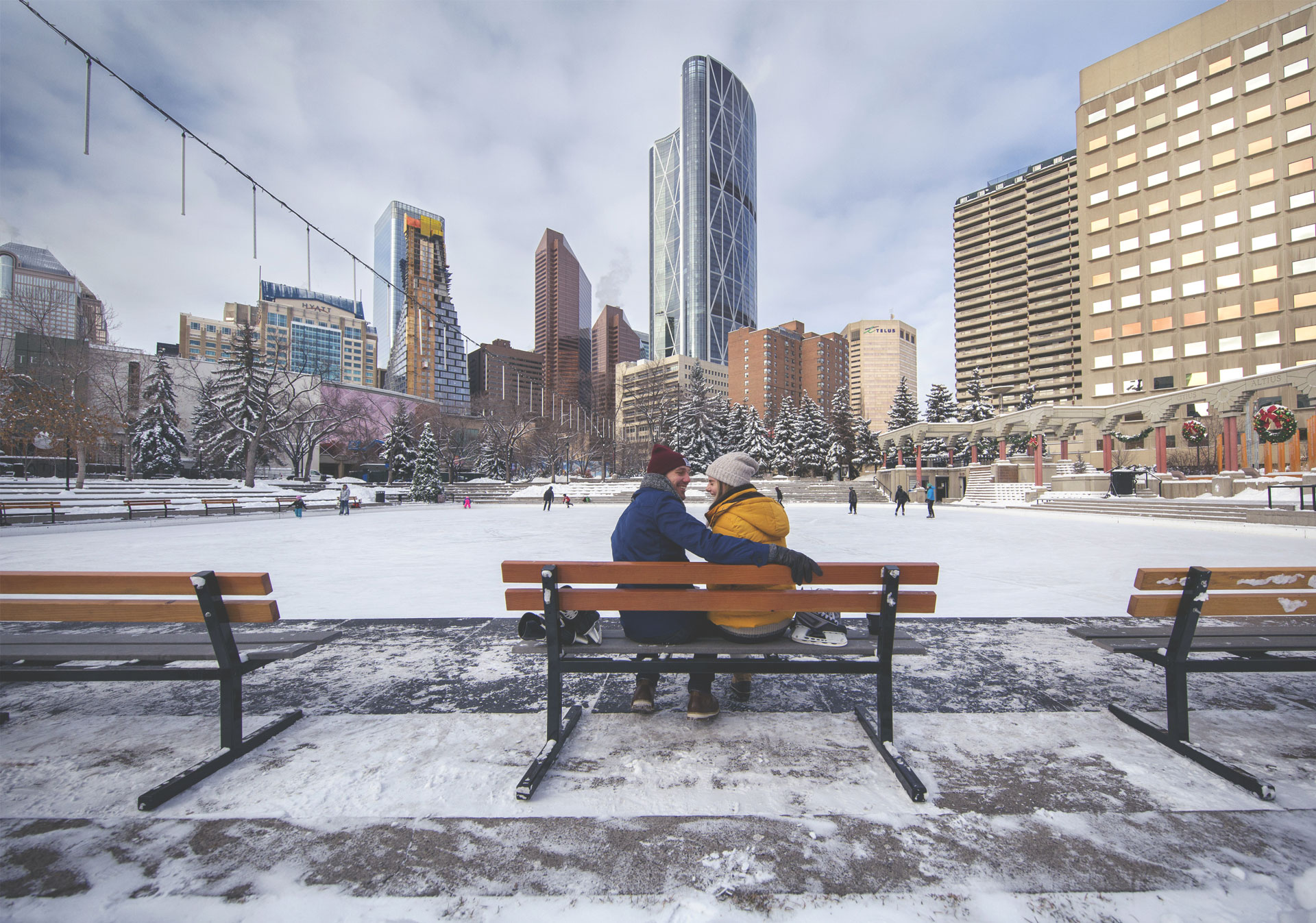 Take a romantic skate at Olympic Plaza (Photo credit: Travel Alberta/Roth & Ramberg).