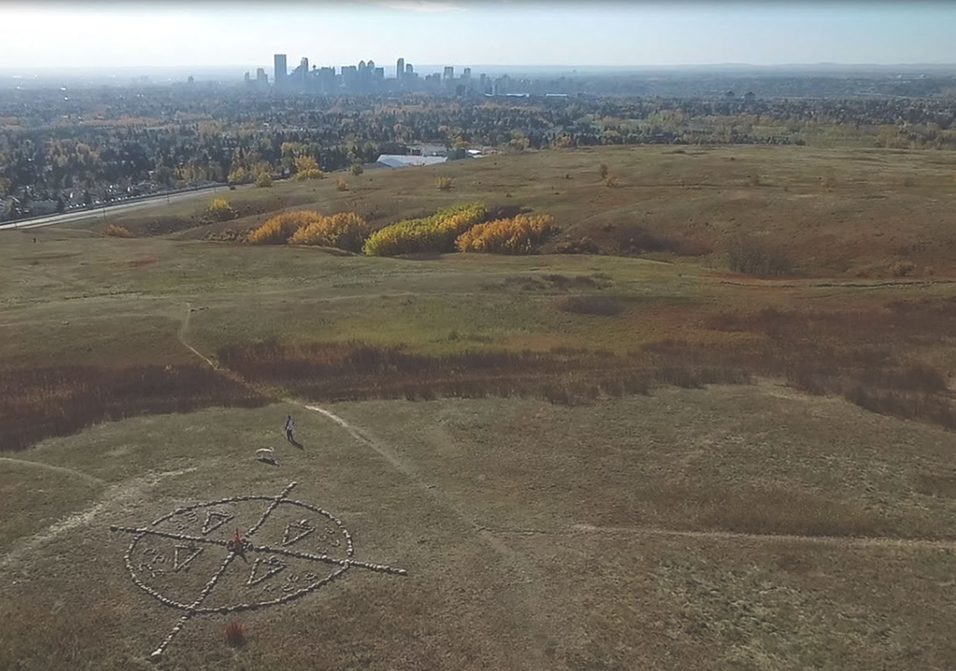 The medicine wheel at Nose Hill Park.