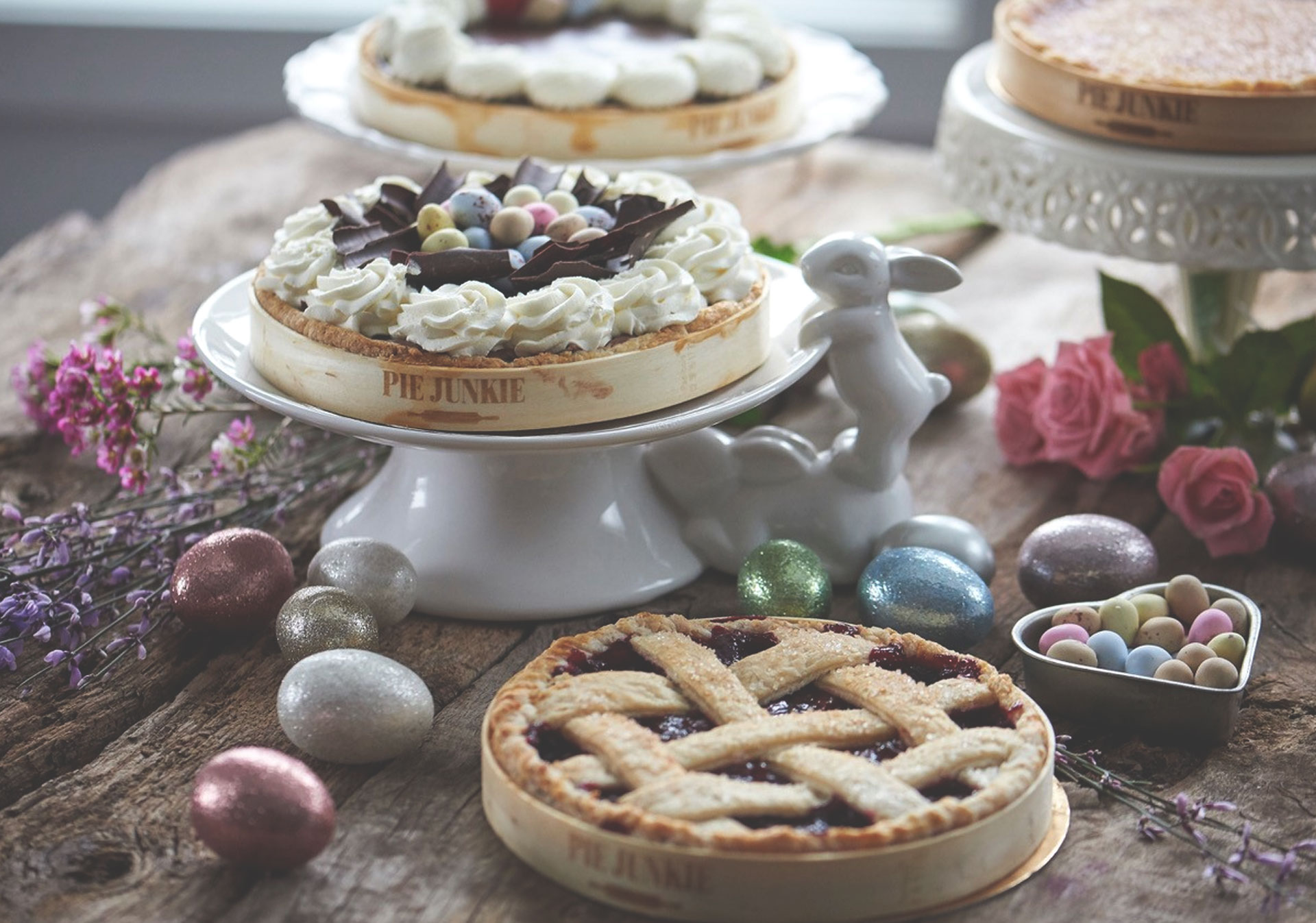 Pie Junkie bakes sweet and savoury pies with homemade fillings.