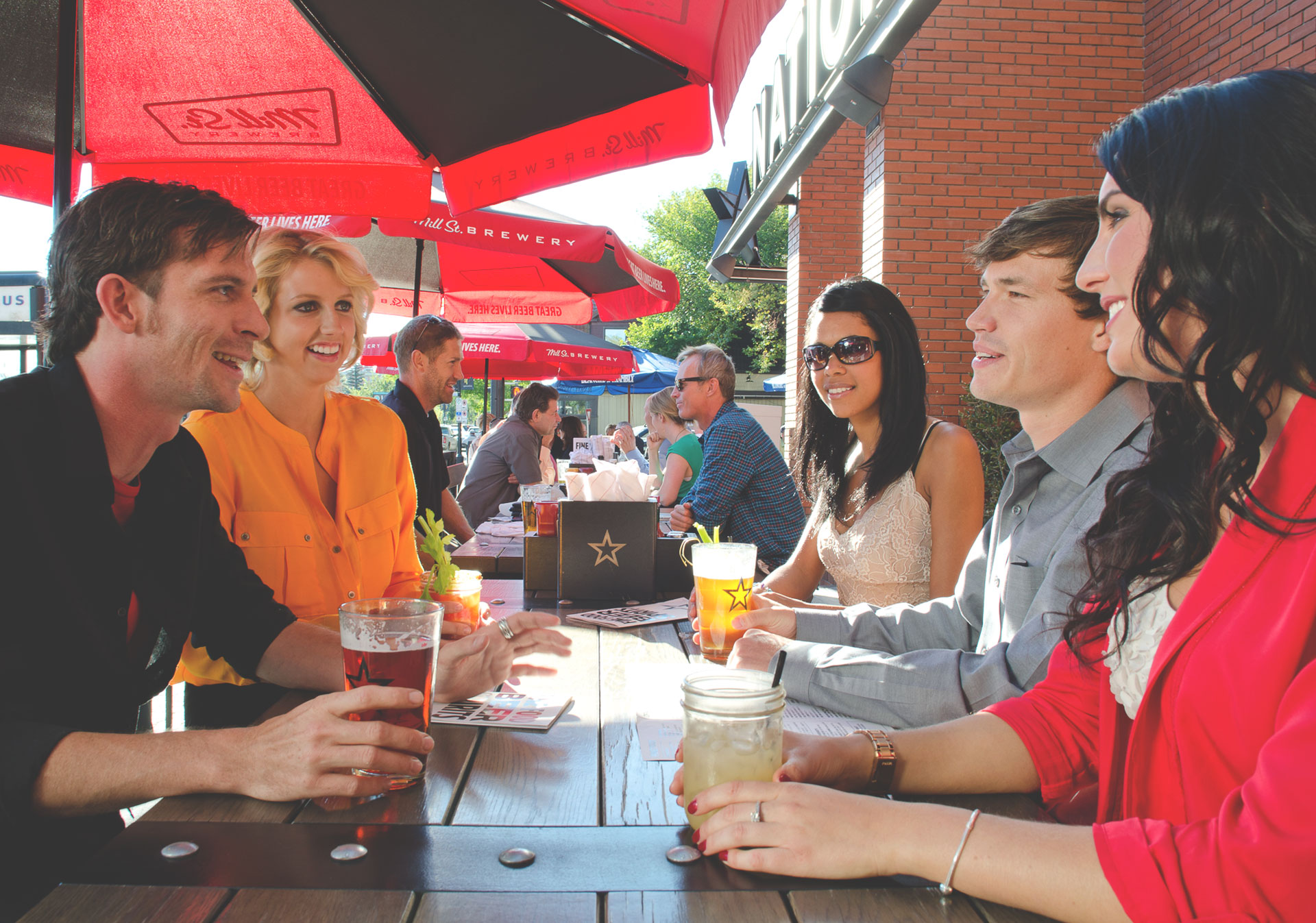 Enjoy time with friends on the patio at National on 17th