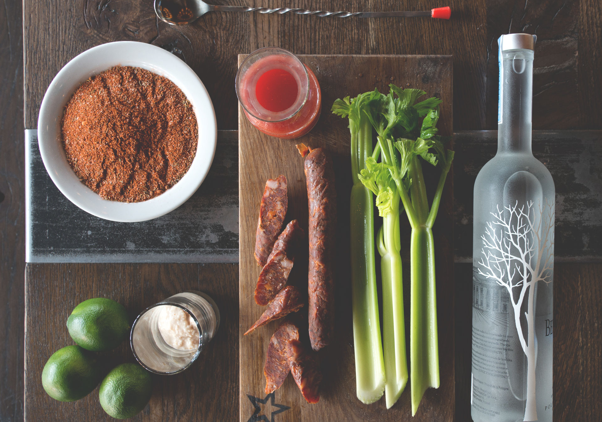 All the ingredients needed for a NTNL Caesar.