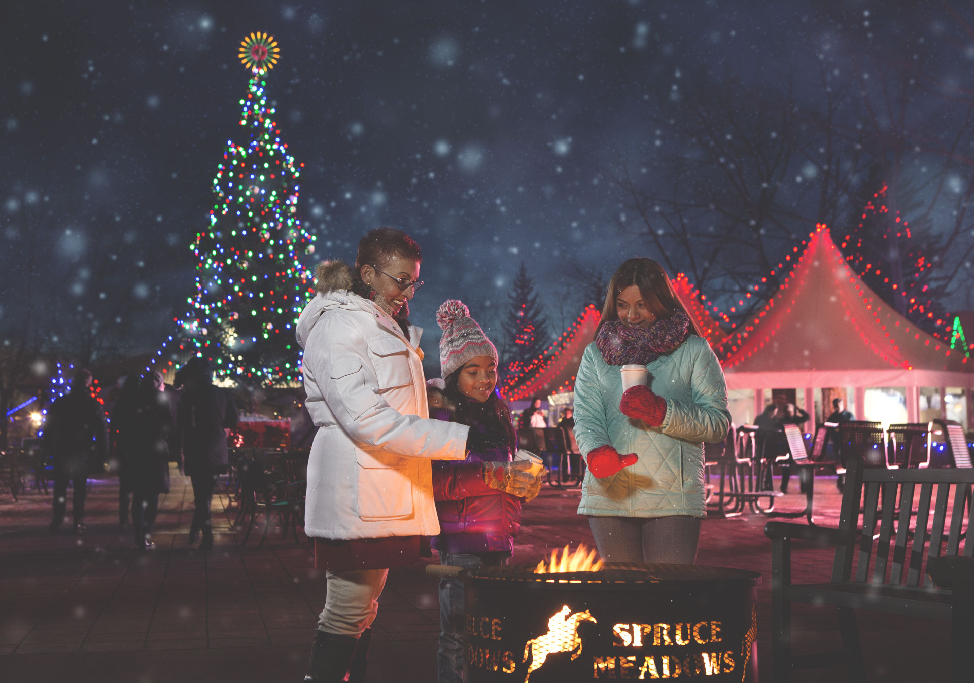 Warm up by the fire at the Spruce Meadows International Christmas Market.