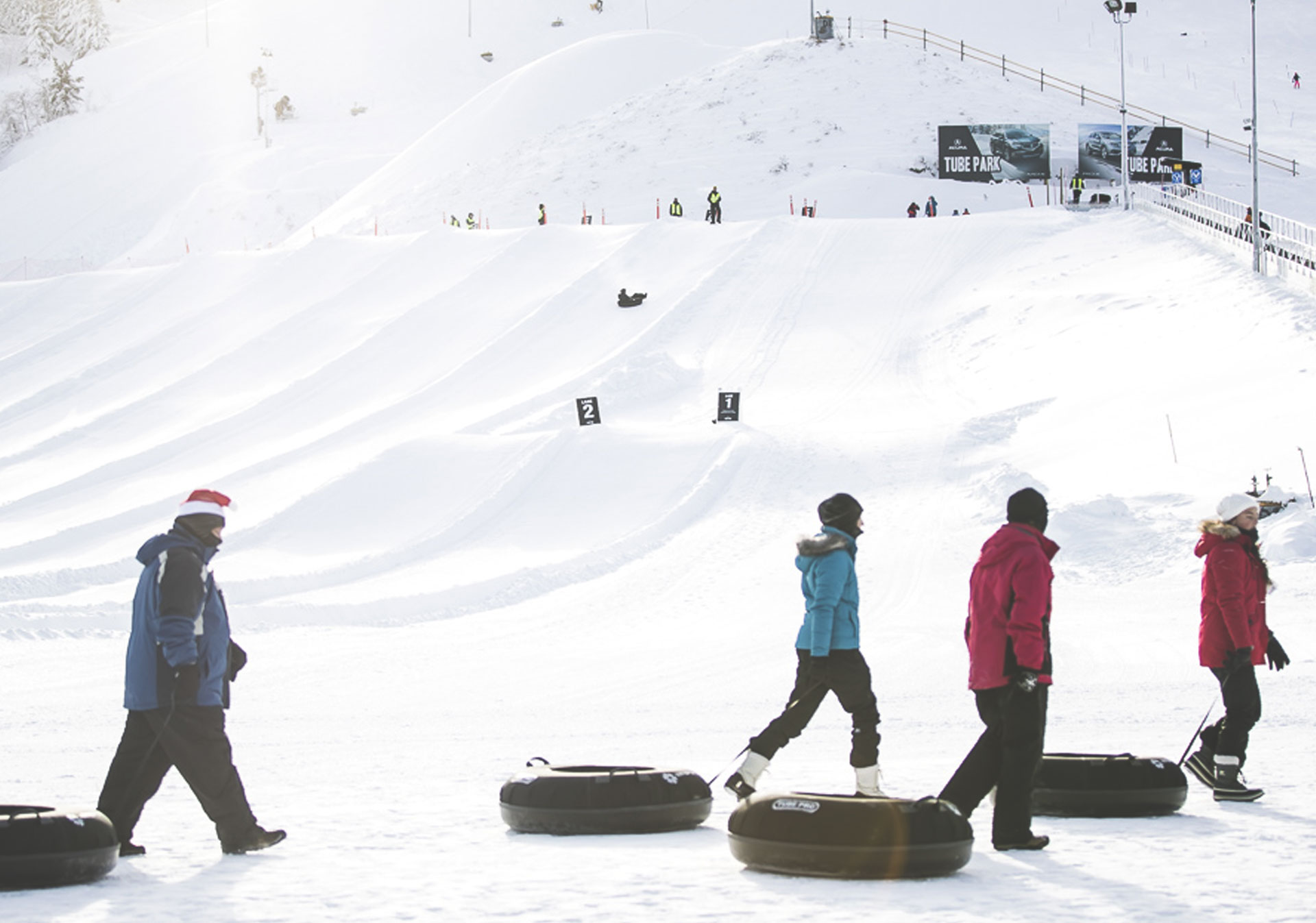 The largest tube park in Western Canada.
