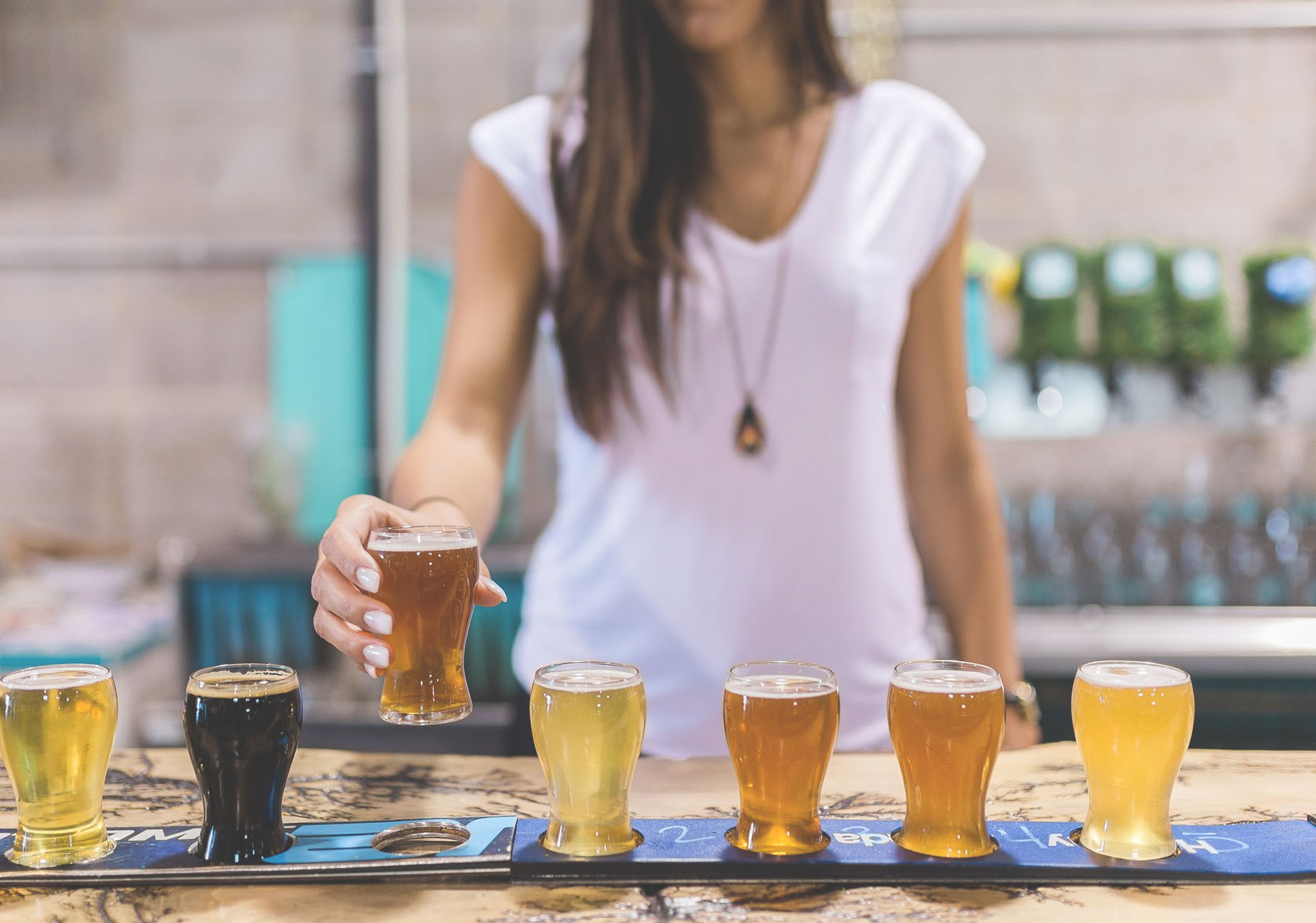 Draft beer flight at Cold Garden