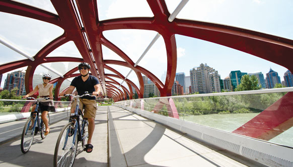 Biking over the Peace Bridge Calgary