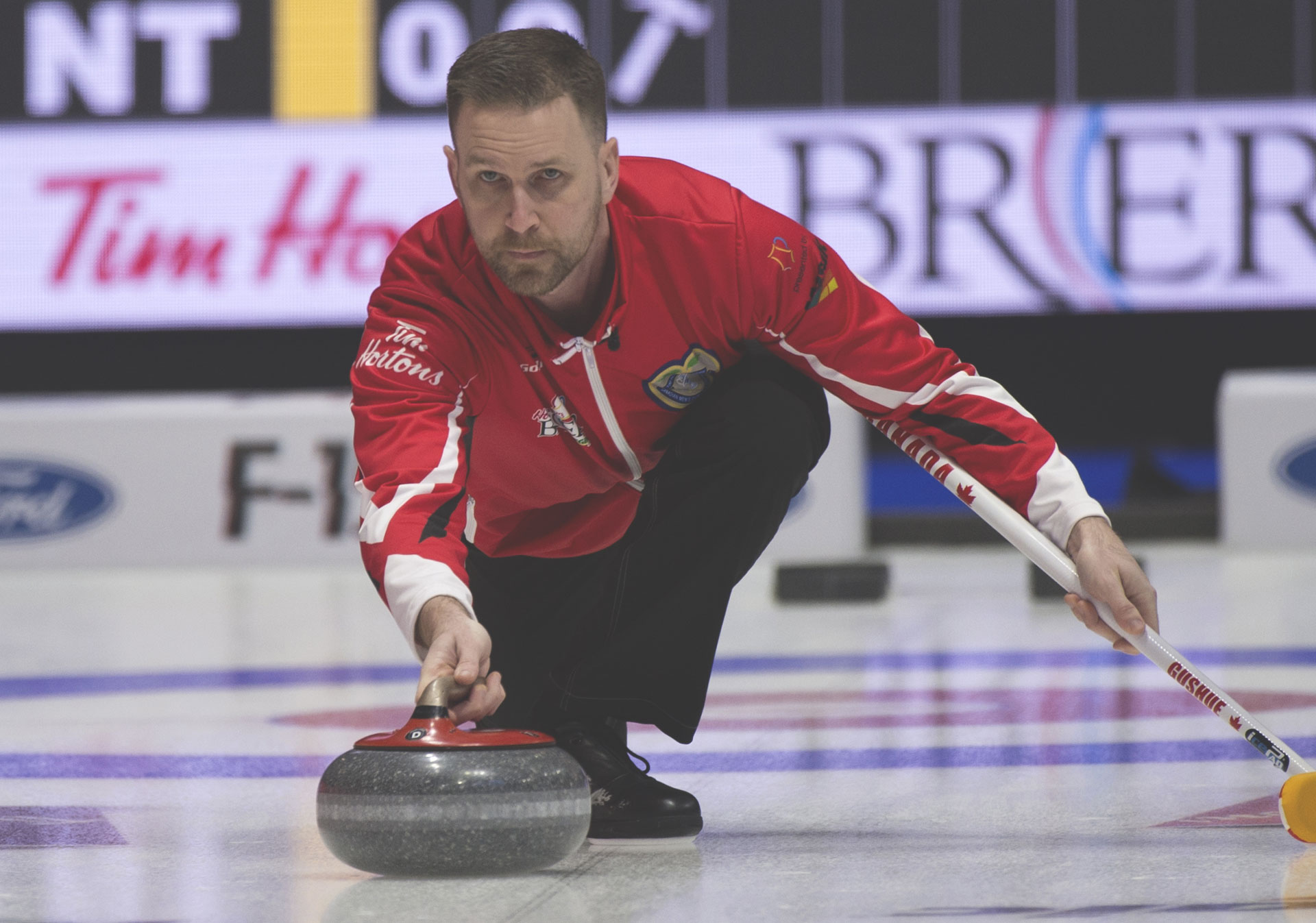Brad Gushue at the Time Hortons Brier (Photo credit: Curling Canada/Michael Burns).