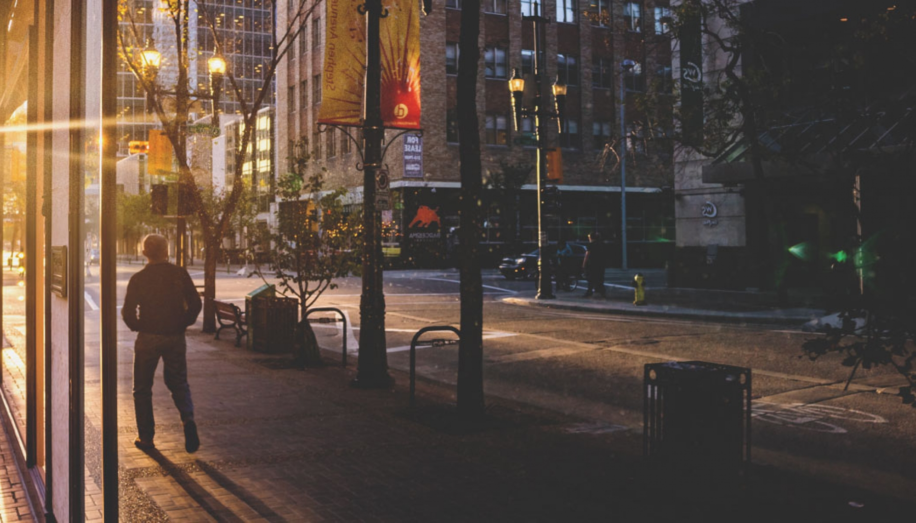 Walking down Stephen Ave at Sunset